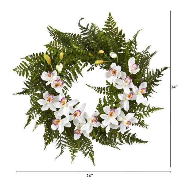 24 Mixed Fern and Cymbidium Orchid Artificial Wreath - SKU #4431 - 1