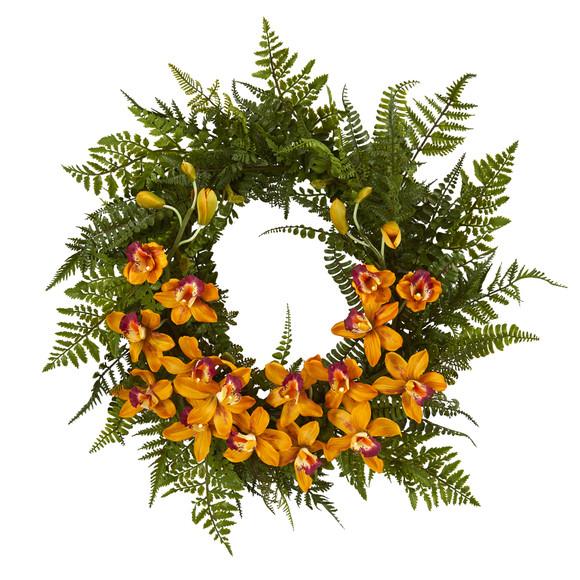 24 Mixed Fern and Cymbidium Orchid Artificial Wreath - SKU #4431 - 2