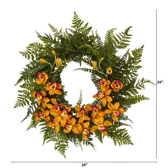 24 Mixed Fern and Cymbidium Orchid Artificial Wreath - SKU #4431 - 3