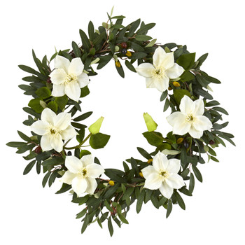 20 Olive and Anemone Artificial Wreath - SKU #4432-CR