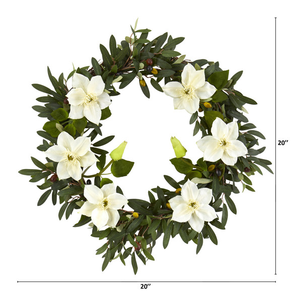 20 Olive and Anemone Artificial Wreath - SKU #4432-CR - 1