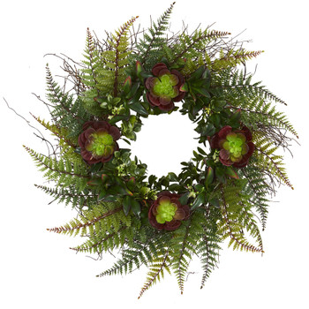 23 Assorted Fern and Echeveria Succulent Artificial Wreath - SKU #4433