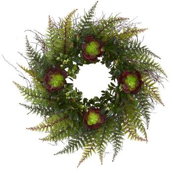 23 Assorted Fern and Echeveria Succulent Artificial Wreath - SKU #4433