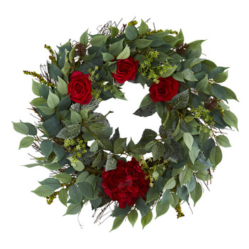 23 Mixed Greens Hydrangea and Rose Artificial Wreath - SKU #4434