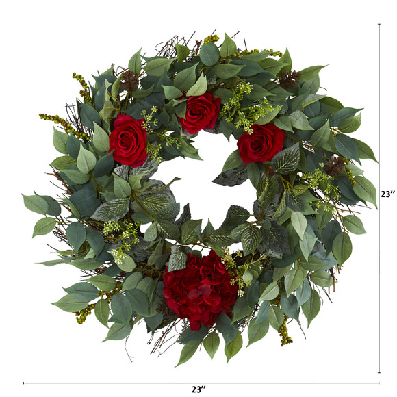 23 Mixed Greens Hydrangea and Rose Artificial Wreath - SKU #4434 - 1