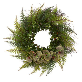 23 Assorted Fern and Phalaenopsis Orchid Artificial Wreath - SKU #4435