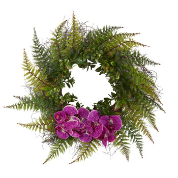 23 Assorted Fern and Phalaenopsis Orchid Artificial Wreath - SKU #4435-PC