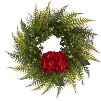 23 Assorted Fern and Hydrangea Artificial Wreath - SKU #4436
