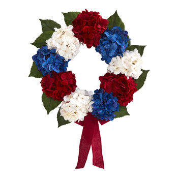 24 Red White and Blue Americana Hydrangea Artificial Wreath - SKU #4444