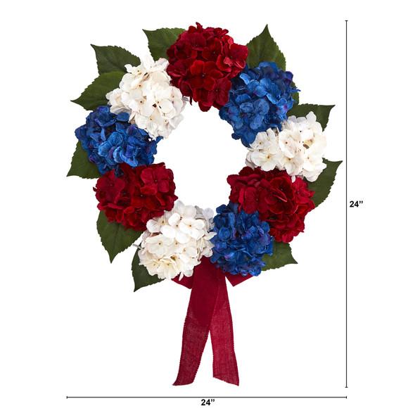 24 Red White and Blue Americana Hydrangea Artificial Wreath - SKU #4444 - 1