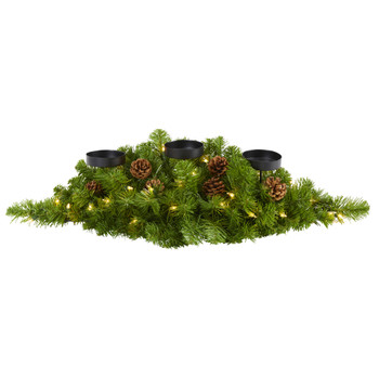 30 Christmas Artificial Pine Triple Candelabrum with 35 Clear Lights and Pine Cones - SKU #4446