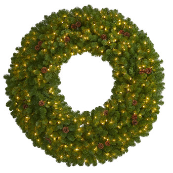 5 Giant Artificial Christmas Wreath with 280 Warm White Lights and Pine Cones - SKU #4447