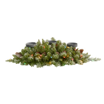 30 Flocked Artificial Christmas Triple Candelabrum with 35 Multicolored Lights and Pine Cones - SKU #4448