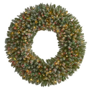 5 Giant Flocked Artificial Christmas with 280 Multicolored Lights and Pine Cones - SKU #4449