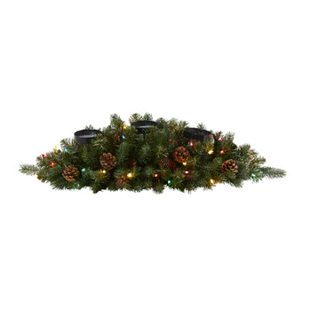 30 Flocked and Glittered Artificial Christmas Triple Candelabrum with 35 Multicolored Lights and Pine Cones - SKU #4450