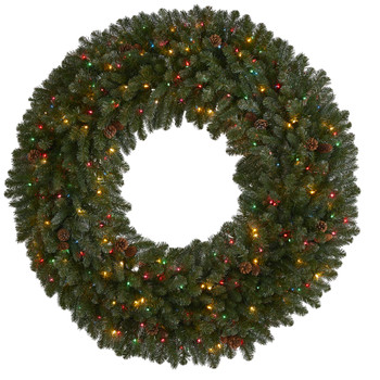 5 Giant Flocked Artificial Christmas Wreath with 280 Multicolored Lights Glitter and Pine Cones - SKU #4451