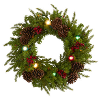 24 Christmas Artificial Wreath with 50 Multicolored Lights 7 Multicolored Globe Bulbs Berries and - SKU #4452