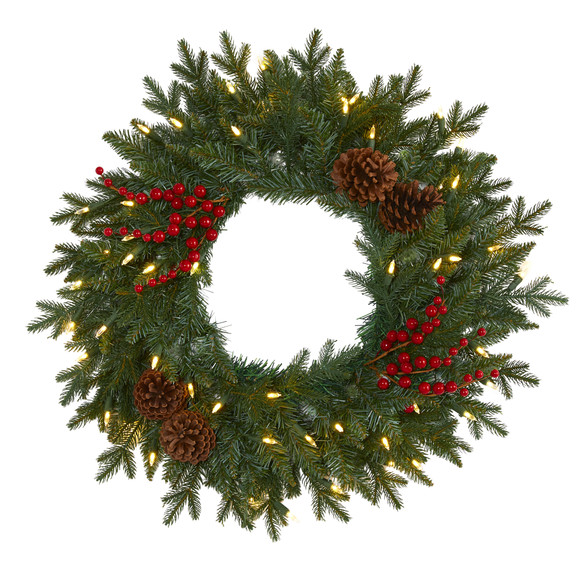24 Green Pine Artificial Christmas Wreath with 50 Warm White LED Lights Berries and Pine Cones - SKU #4453