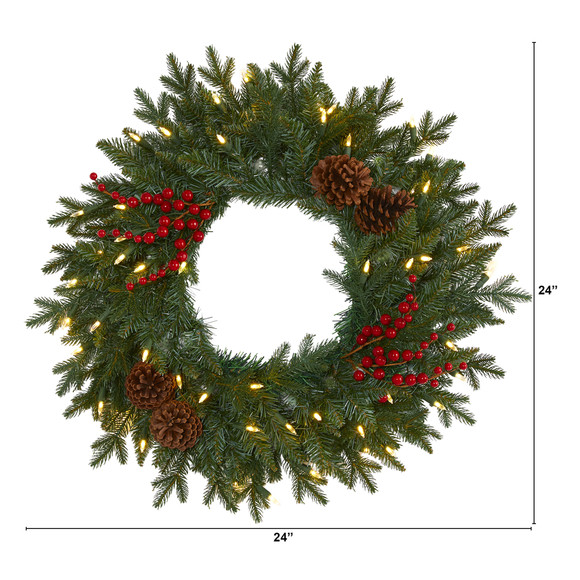 24 Green Pine Artificial Christmas Wreath with 50 Warm White LED Lights Berries and Pine Cones - SKU #4453 - 1