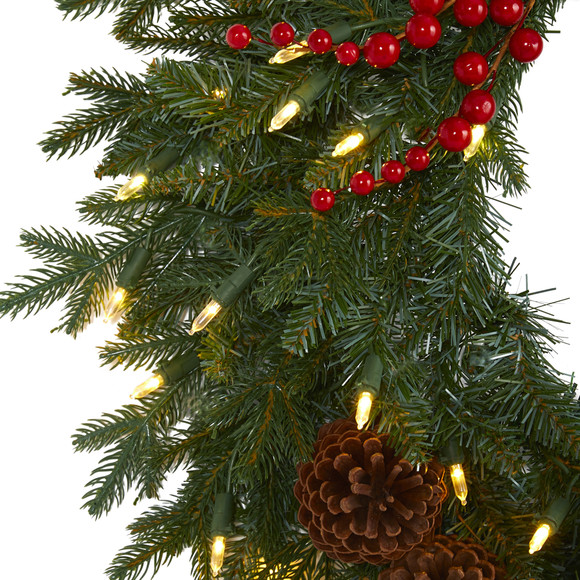 24 Green Pine Artificial Christmas Wreath with 50 Warm White LED Lights Berries and Pine Cones - SKU #4453 - 2