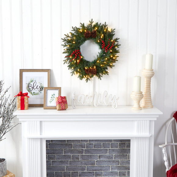 24 Green Pine Artificial Christmas Wreath with 50 Warm White LED Lights Berries and Pine Cones - SKU #4453 - 3