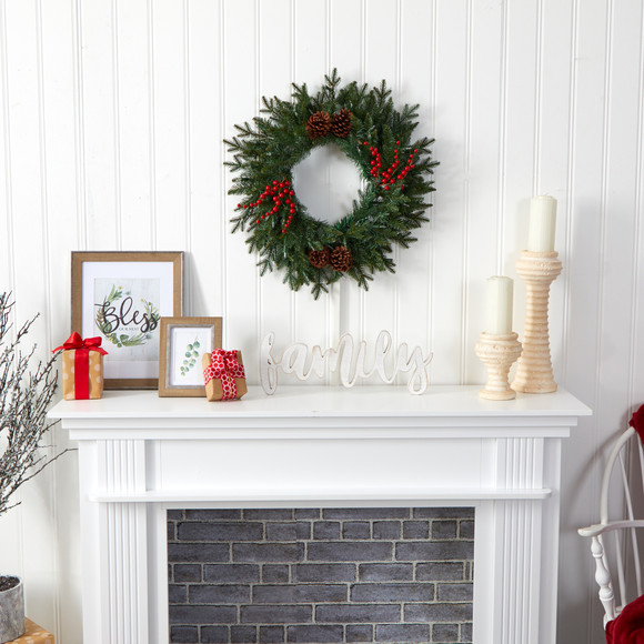 24 Green Pine Artificial Christmas Wreath with 50 Warm White LED Lights Berries and Pine Cones - SKU #4453 - 4