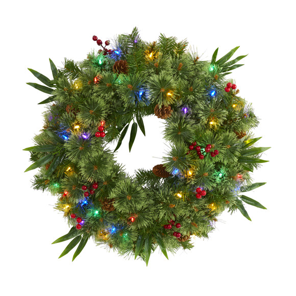 24 Mixed Pine Artificial Christmas Wreath with 50 Multicolored LED Lights Berries and Pine Cones - SKU #4454