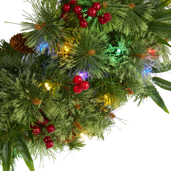 24 Mixed Pine Artificial Christmas Wreath with 50 Multicolored LED Lights Berries and Pine Cones - SKU #4454 - 2