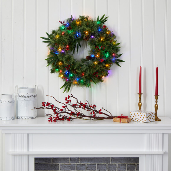 24 Mixed Pine Artificial Christmas Wreath with 50 Multicolored LED Lights Berries and Pine Cones - SKU #4454 - 3
