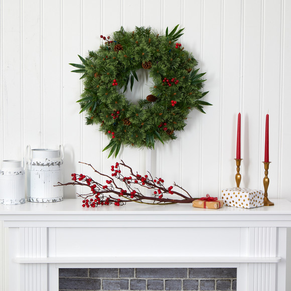 24 Mixed Pine Artificial Christmas Wreath with 50 Multicolored LED Lights Berries and Pine Cones - SKU #4454 - 4