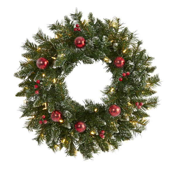 24 Frosted Artificial Christmas Wreath with 50 Warm White LED Lights Ornaments and Berries - SKU #4455