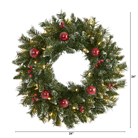 24 Frosted Artificial Christmas Wreath with 50 Warm White LED Lights Ornaments and Berries - SKU #4455 - 1