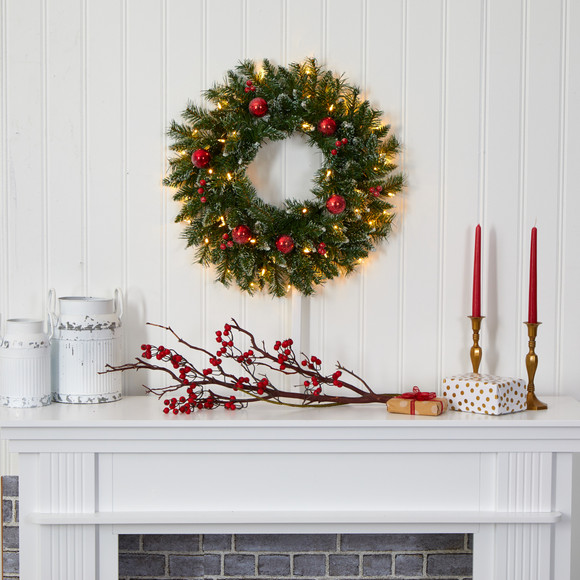 24 Frosted Artificial Christmas Wreath with 50 Warm White LED Lights Ornaments and Berries - SKU #4455 - 3