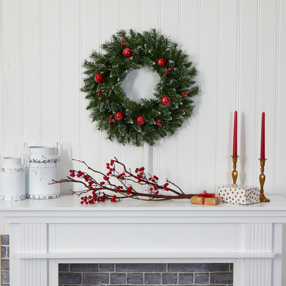 24 Frosted Artificial Christmas Wreath with 50 Warm White LED Lights Ornaments and Berries - SKU #4455 - 4