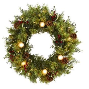 24 Christmas Artificial Wreath with 50 White Warm Lights 7 Globe Bulbs Berries and Pine Cones - SKU #4456