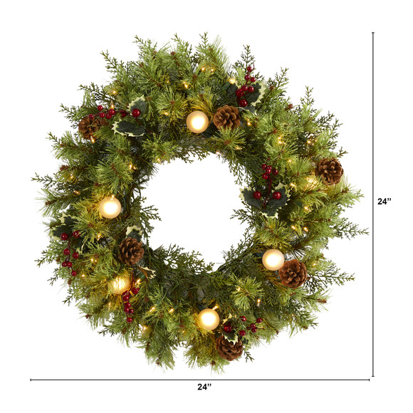 24 Christmas Artificial Wreath with 50 White Warm Lights 7 Globe Bulbs Berries and Pine Cones - SKU #4456 - 1