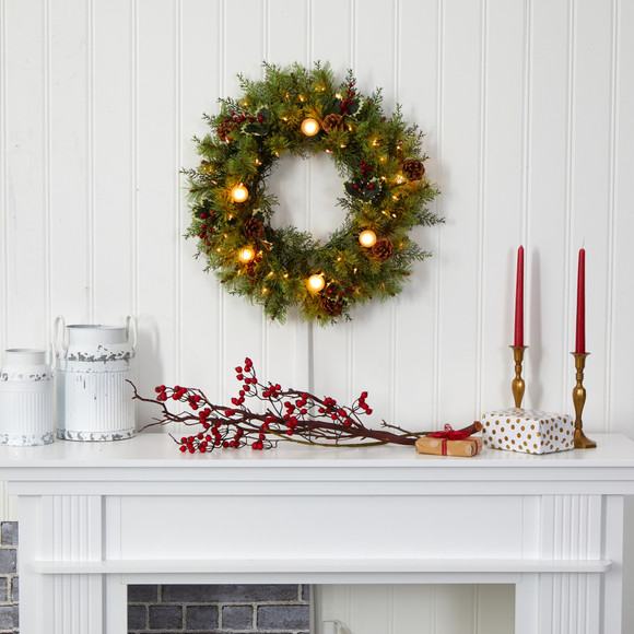 24 Christmas Artificial Wreath with 50 White Warm Lights 7 Globe Bulbs Berries and Pine Cones - SKU #4456 - 3