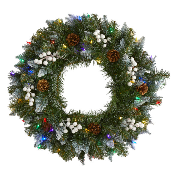 24 Snow Tipped Artificial Christmas Wreath with 50 Multicolored LED Lights White Berries and Pine Cones - SKU #4457