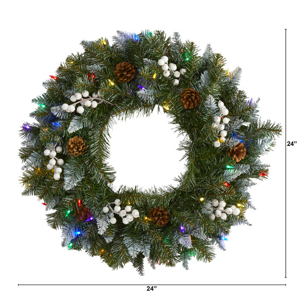 24 Snow Tipped Artificial Christmas Wreath with 50 Multicolored LED Lights White Berries and Pine Cones - SKU #4457 - 1