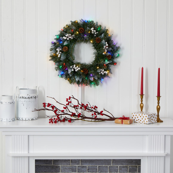 24 Snow Tipped Artificial Christmas Wreath with 50 Multicolored LED Lights White Berries and Pine Cones - SKU #4457 - 3