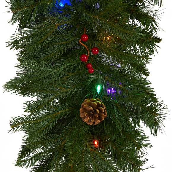 9 x 12 Hanging Icicle Artificial Christmas Garland with 50 Multicolored LED Lights Berries and Pine Cones - SKU #4458 - 2
