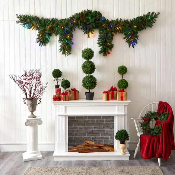 9 x 12 Hanging Icicle Artificial Christmas Garland with 50 Multicolored LED Lights Berries and Pine Cones - SKU #4458 - 3