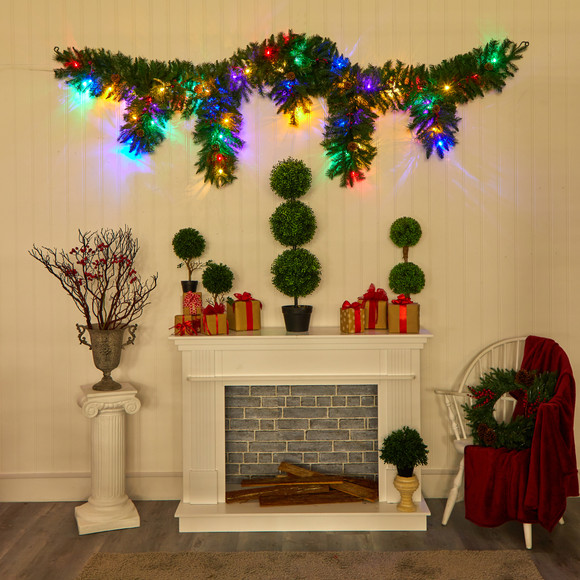 9 x 12 Hanging Icicle Artificial Christmas Garland with 50 Multicolored LED Lights Berries and Pine Cones - SKU #4458 - 4