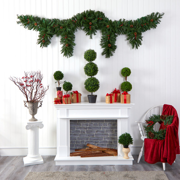 9 x 12 Hanging Icicle Artificial Christmas Garland with 50 Multicolored LED Lights Berries and Pine Cones - SKU #4458 - 5