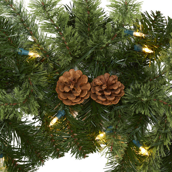 6 Christmas Artificial Garland with 50 Multicolored LED Lights and Pine Cones - SKU #4459 - 2
