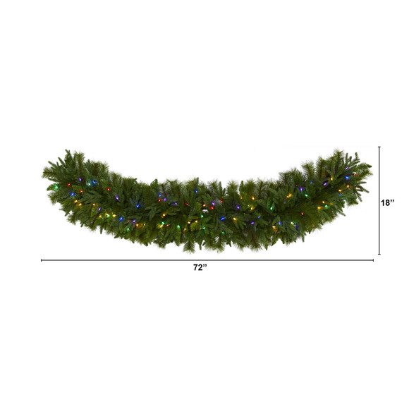 6 x 18 Christmas Pine Extra Wide Artificial Garland with 100 Multicolored LED Lights - SKU #4460 - 1