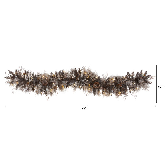 6 Flocked Artificial Christmas Garland with 50 White Warm LED Lights and Pine Cones - SKU #4461 - 1