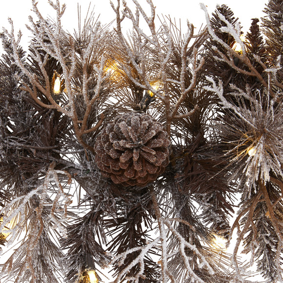 6 Flocked Artificial Christmas Garland with 50 White Warm LED Lights and Pine Cones - SKU #4461 - 2