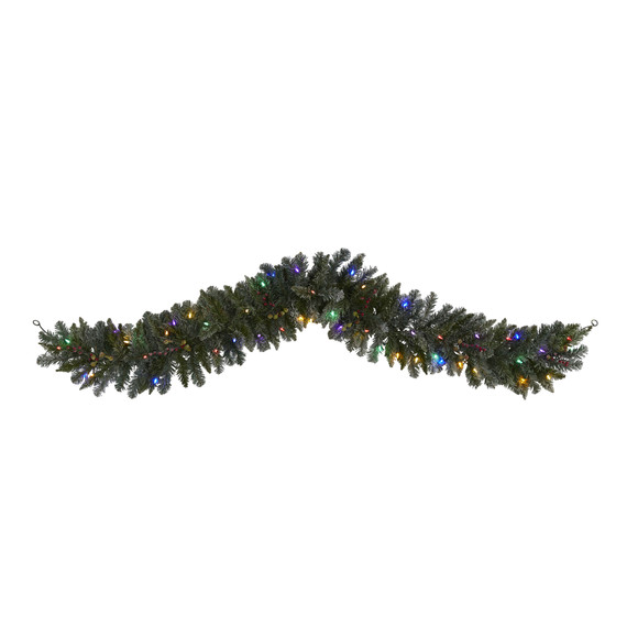 6 Flocked Artificial Christmas Garland with 50 Multicolored LED Lights and Berries - SKU #4462