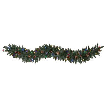 6 Snow Dusted Artificial Christmas Garland with 50 Multicolored LED Lights Berries and Pinecones - SKU #4463